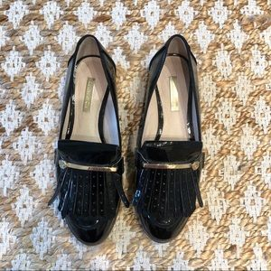 Louise et cie black patent loafer with tassel trim